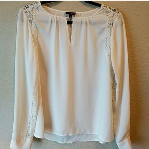 The Limited Ivory Blouse with Lace Panels